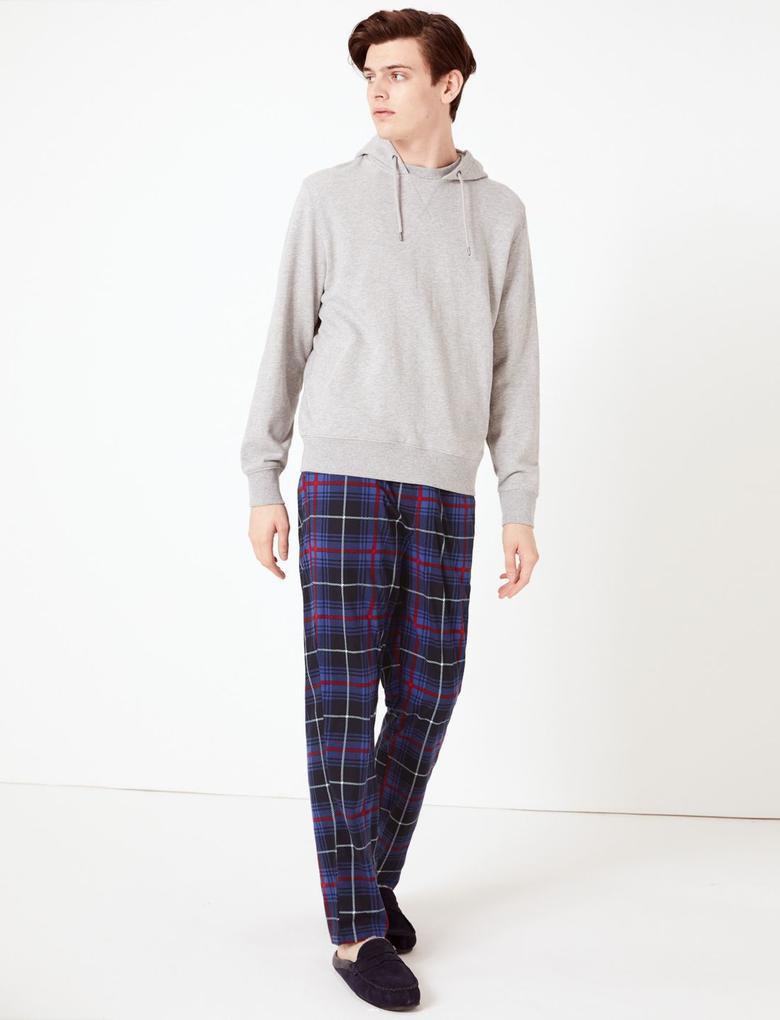 Erkek Mavi Ekose Pijama Altı