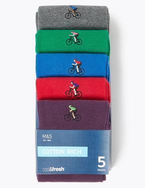 Erkek Multi Renk 5'li Cool & Fresh™ Bisiklet İşlemeli Çorap Seti
