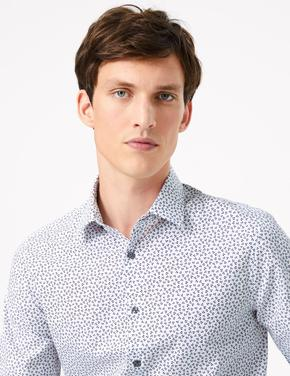 Erkek Beyaz Desenli Saf Pamuklu Slim Fit Gömlek