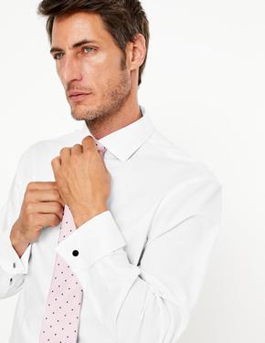 Erkek Beyaz Ütü Gerektirmeyen Regular Fit Gömlek
