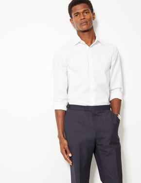 Erkek Beyaz Pamuklu Streç Slim Fit Gömlek