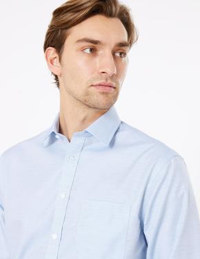 Erkek Mavi Dokulu Ütü Gerektirmeyen Regular Fit Gömlek