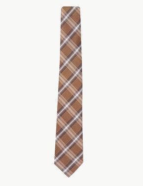Sarı İpekli Ekose Slim Kravat