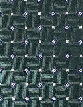 Yeşil Geometrik Desenli Slim Kravat