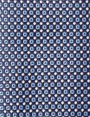 Mavi Mikro Geometrik Desenli Skinny Kravat