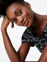 Kadın Siyah Desenli Kısa Gecelik
