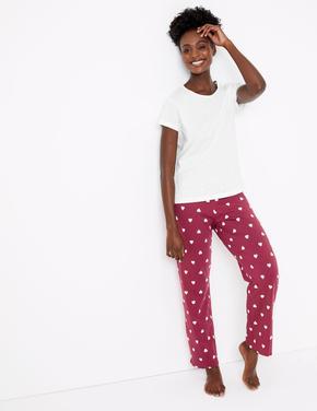 Kadın Pembe Saf Pamuklu Kalp Desenli Pijama Takımı