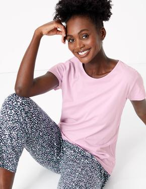 Kadın Mor Saf Pamuklu Çiçek Desenli Pijama Takımı