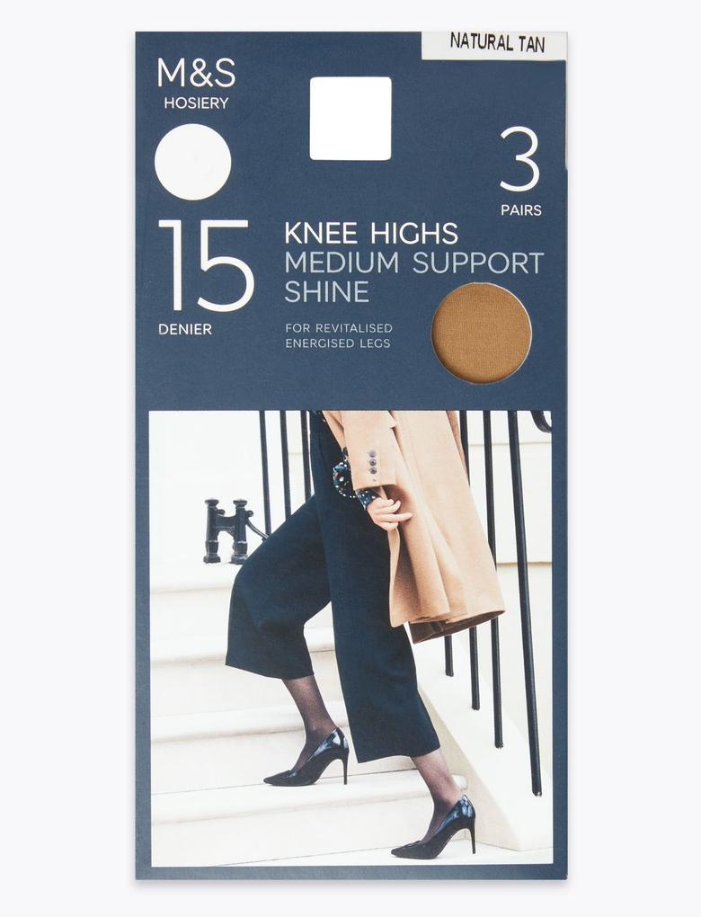 Kadın Kahverengi 3'lü 15 Denye Medium Support Diz Altı Çorap Seti