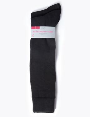 Kadın Siyah 2'li Diz Altı Çorap Seti