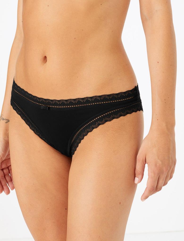Kadın Siyah 5'li Dantelli Bikini Külot Seti