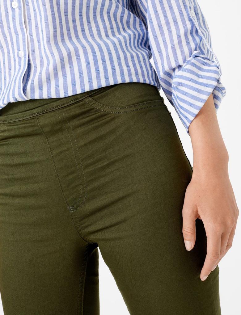 Kadın Yeşil Yüksek Belli Jegging Pantolon