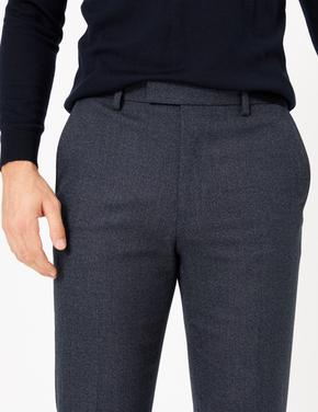 Erkek Lacivert Dokulu Tailored Fit Pantolon