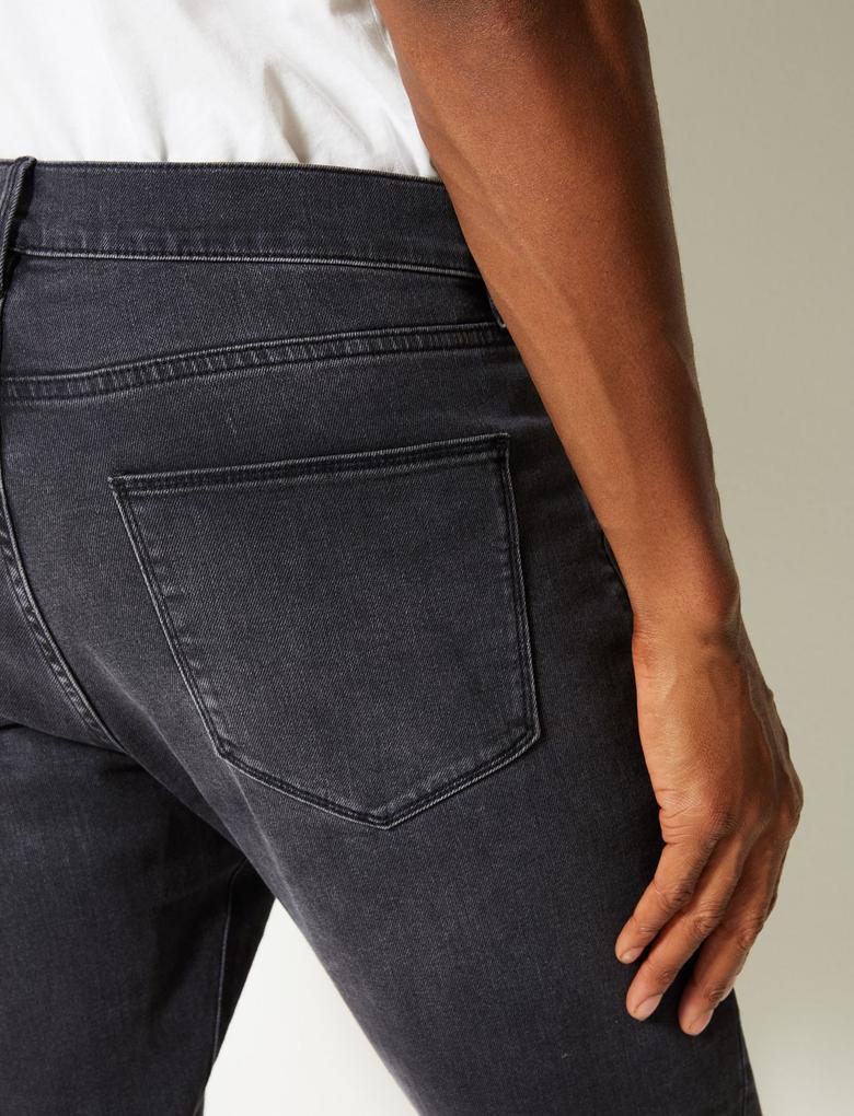 Erkek Gri Skinny Fit Streç Jean Pantolon