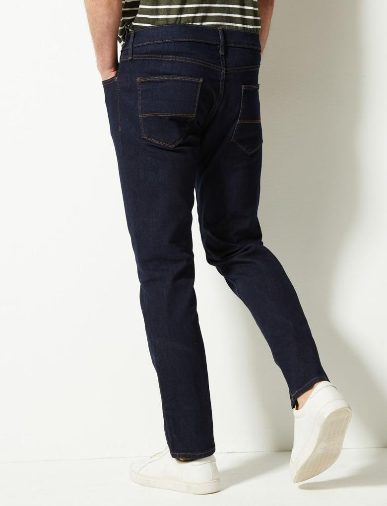Erkek Lacivert Slim Fit Streç Jean Pantolon