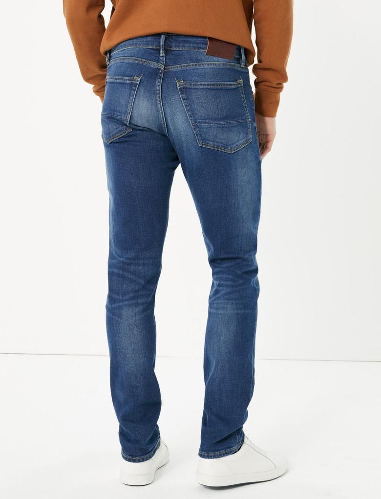 Erkek Lacivert Vintage Slim Fit Jean Pantolon