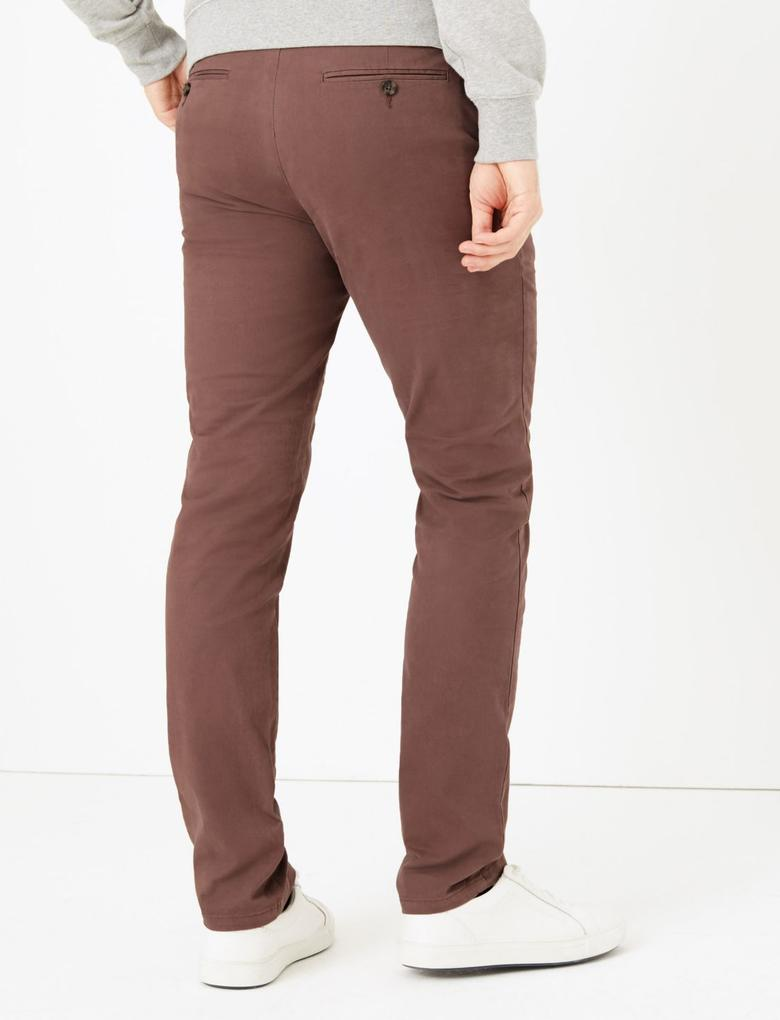 Erkek Mor Slim Fit Chino Pantolon