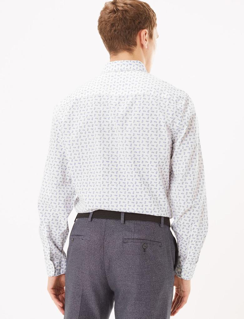 Erkek Beyaz Desenli Saf Pamuklu Gömlek