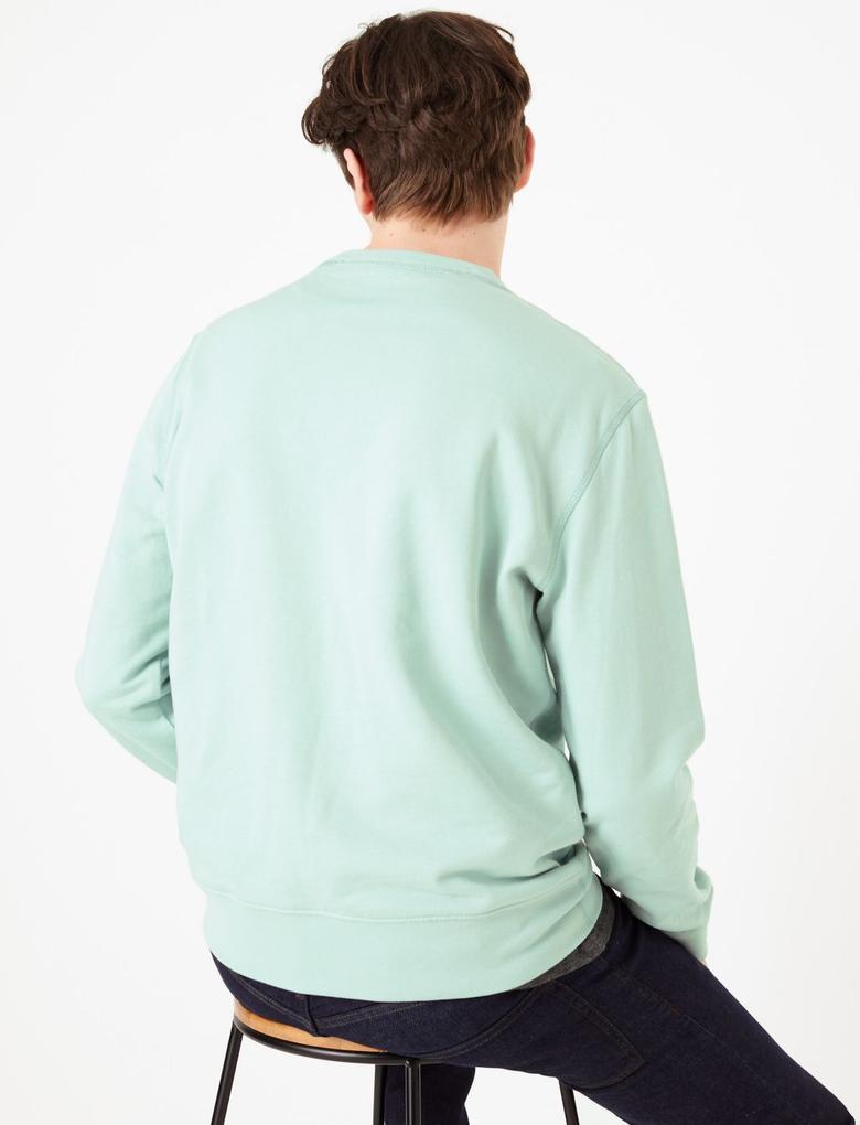 Yeşil Saf Pamuklu Yuvarlak Yaka Sweatshirt