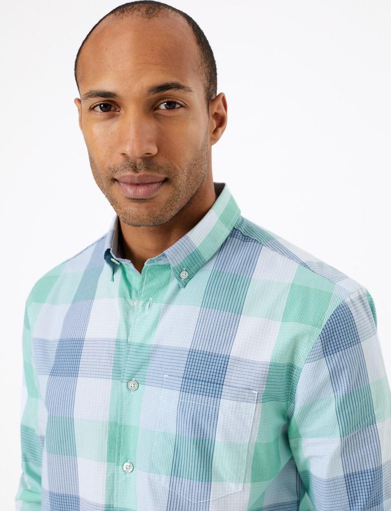 Erkek Yeşil Saf Pamuklu Ekose Gömlek