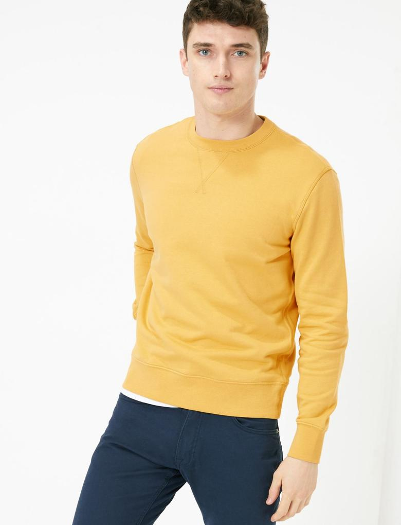 Sarı Saf Pamuklu Yuvarlak Yaka Sweatshirt