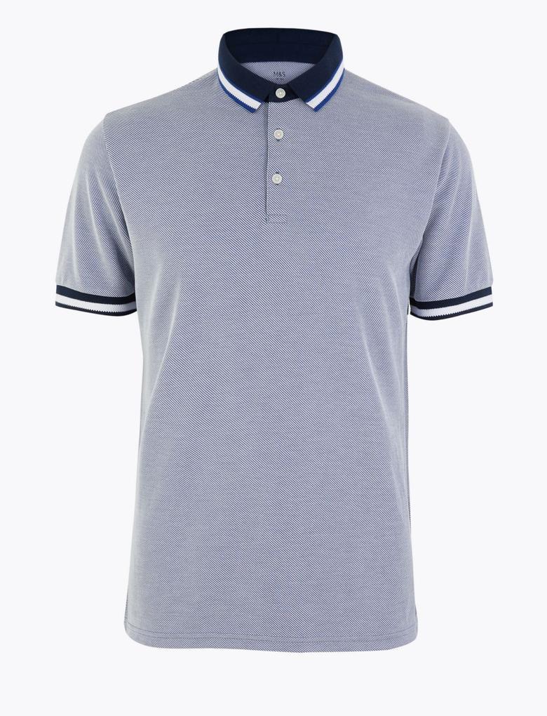 Erkek Mavi Yumuşak Dokulu Polo Yaka T-Shirt