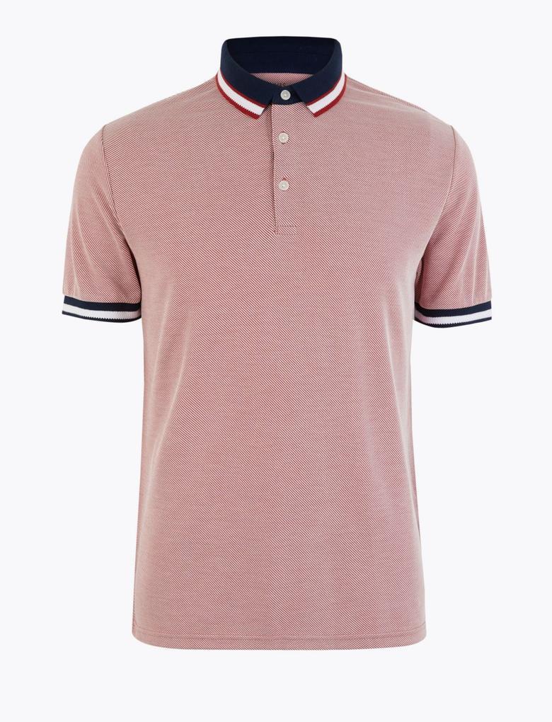 Erkek Kırmızı Yumuşak Dokulu Polo Yaka T-Shirt