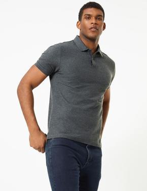 Erkek Gri Saf Pamuklu Polo Yaka T-Shirt