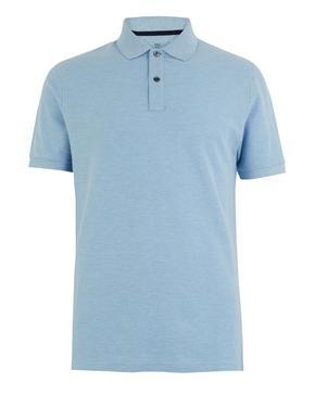 Erkek Mavi Saf Pamuklu Polo Yaka T-Shirt