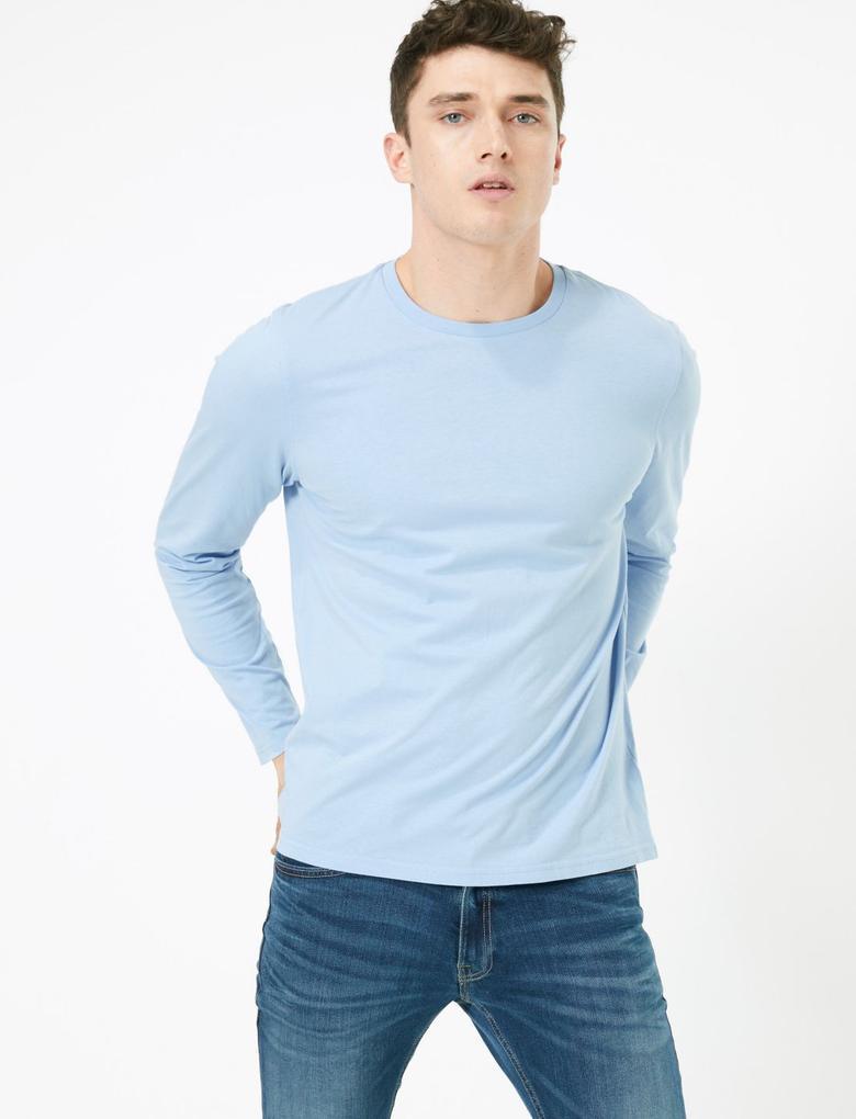 Erkek Mavi Saf Pamuklu Uzun Kollu T-Shirt
