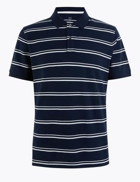 Erkek Lacivert Çizgili Saf Pamuklu Polo Yaka T-Shirt