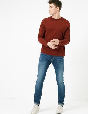 Erkek Turuncu Saf Pamuklu Uzun Kollu T-Shirt