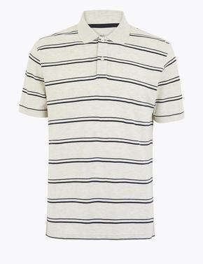 Erkek Krem Çizgili Saf Pamuklu Polo Yaka T-Shirt