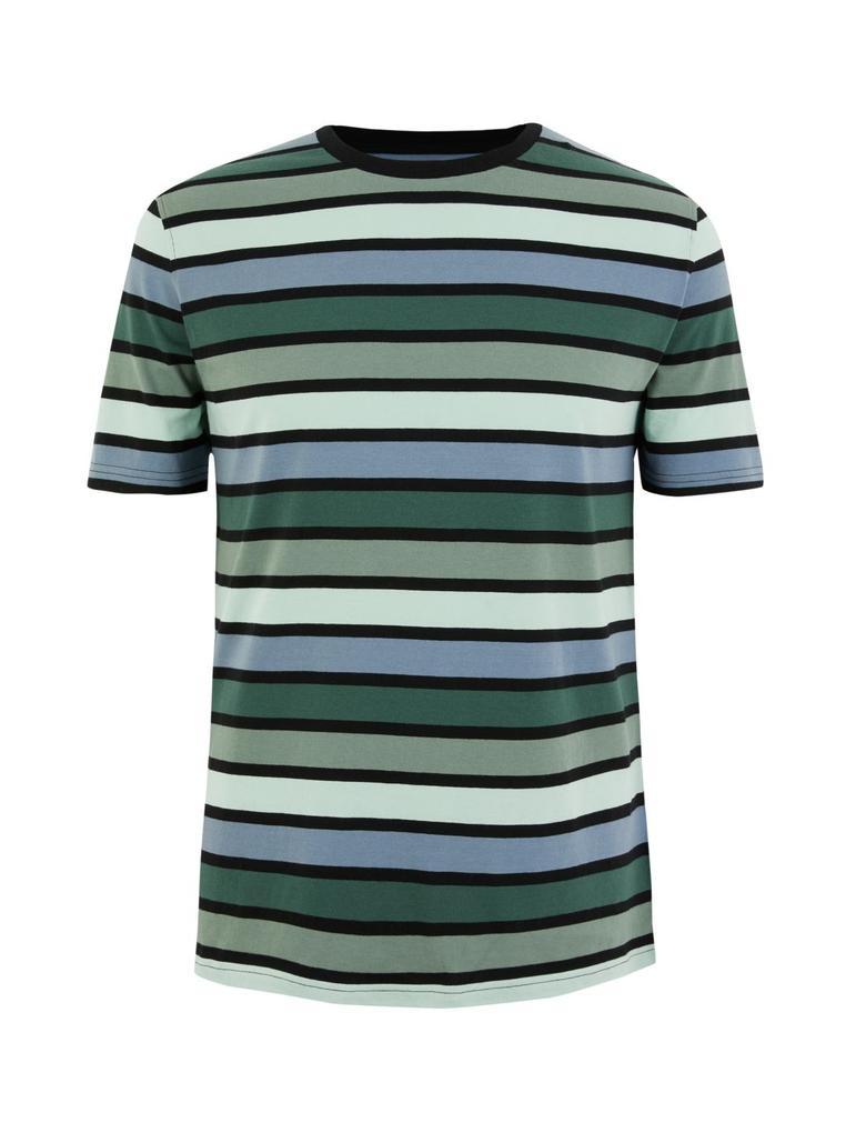 Erkek Yeşil Saf Pamuklu Çizgili T-Shirt