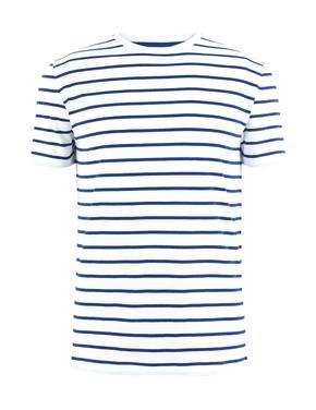 Erkek Beyaz Saf Pamuklu Çizgili T-Shirt