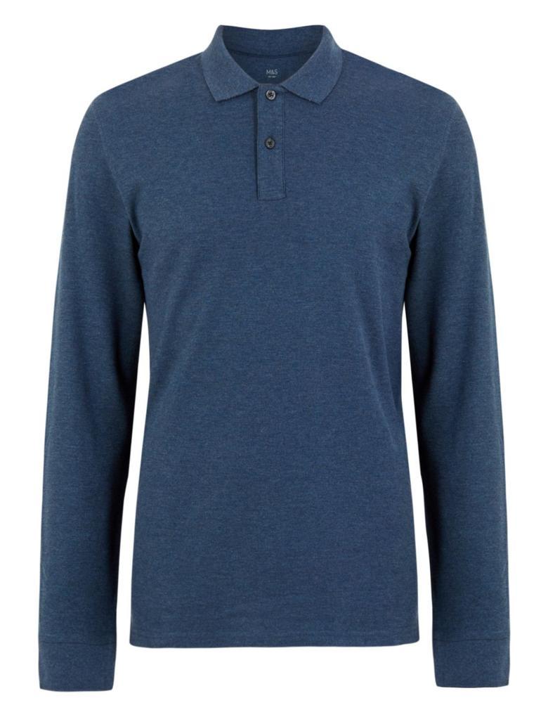 Erkek Mavi Uzun Kollu Polo Yaka T-shirt