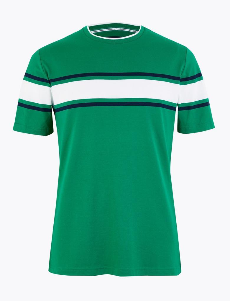 Erkek Yeşil Luxury Supima® Çizgili Kısa Kollu T-Shirt