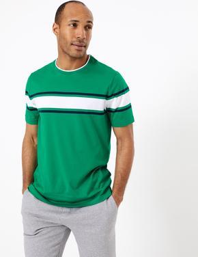 Erkek Yeşil Supima® Çizgili Kısa Kollu T-Shirt