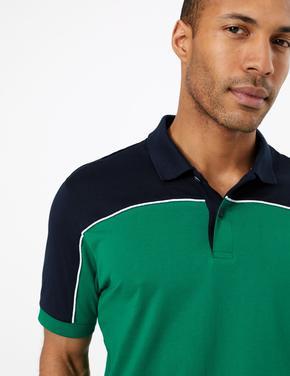 Erkek Yeşil Supima® Renk Bloklu Polo Yaka T-Shirt