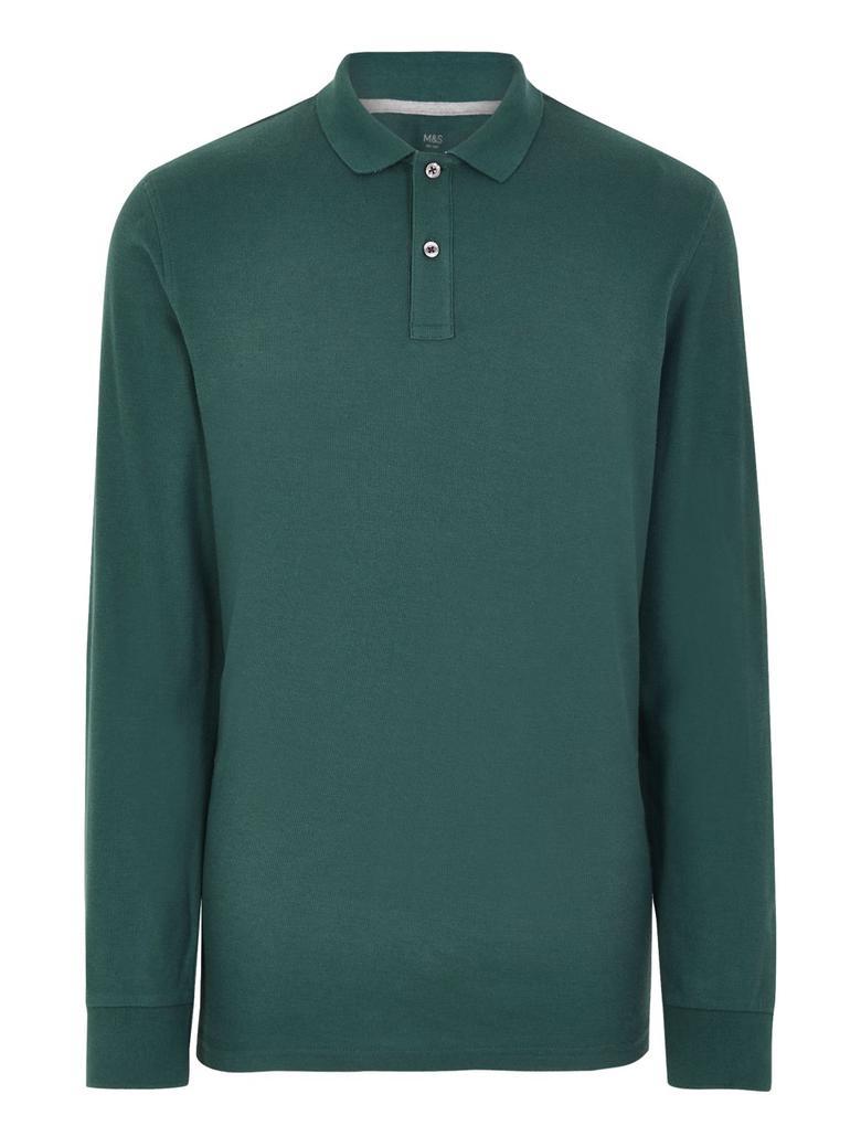 Erkek Yeşil Uzun Kollu Polo Yaka T-shirt