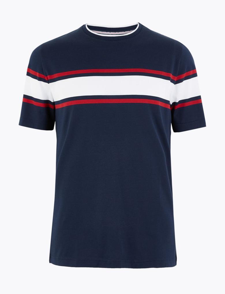 Erkek Lacivert Luxury Supima® Çizgili Kısa Kollu T-Shirt