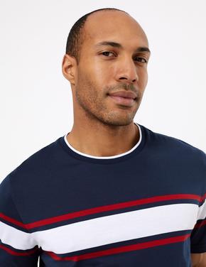 Erkek Lacivert Supima® Çizgili Kısa Kollu T-Shirt