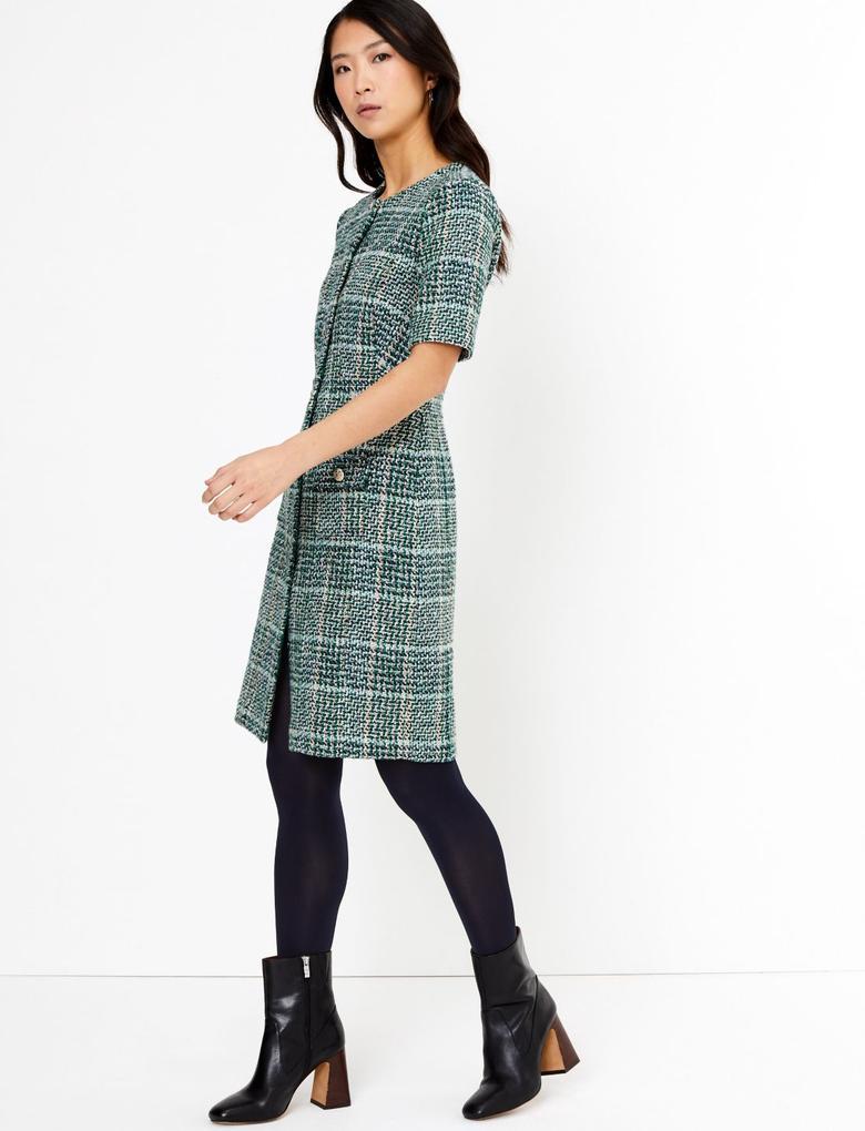 Kadın Yeşil Ekose Tüvit Mini Elbise