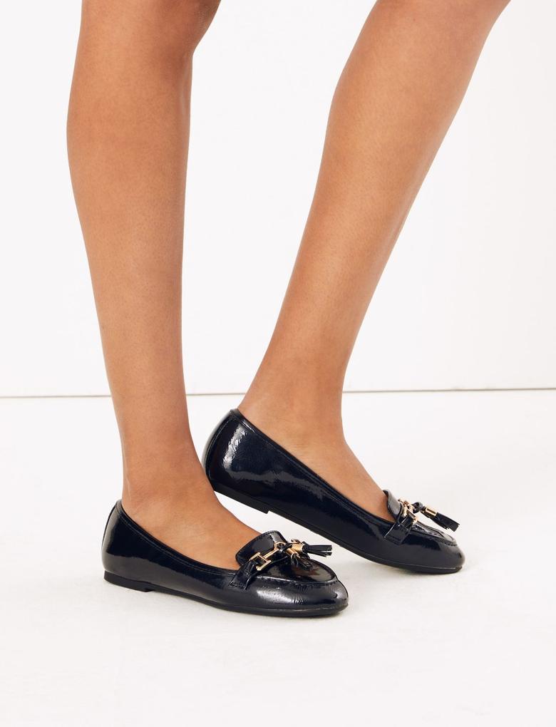 Kadın Lacivert Püskül Detaylı Loafer Ayakkabı
