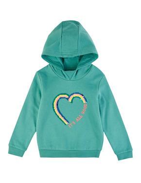 Pullu Kalp İşlemeli Kapüşonlu Sweatshirt