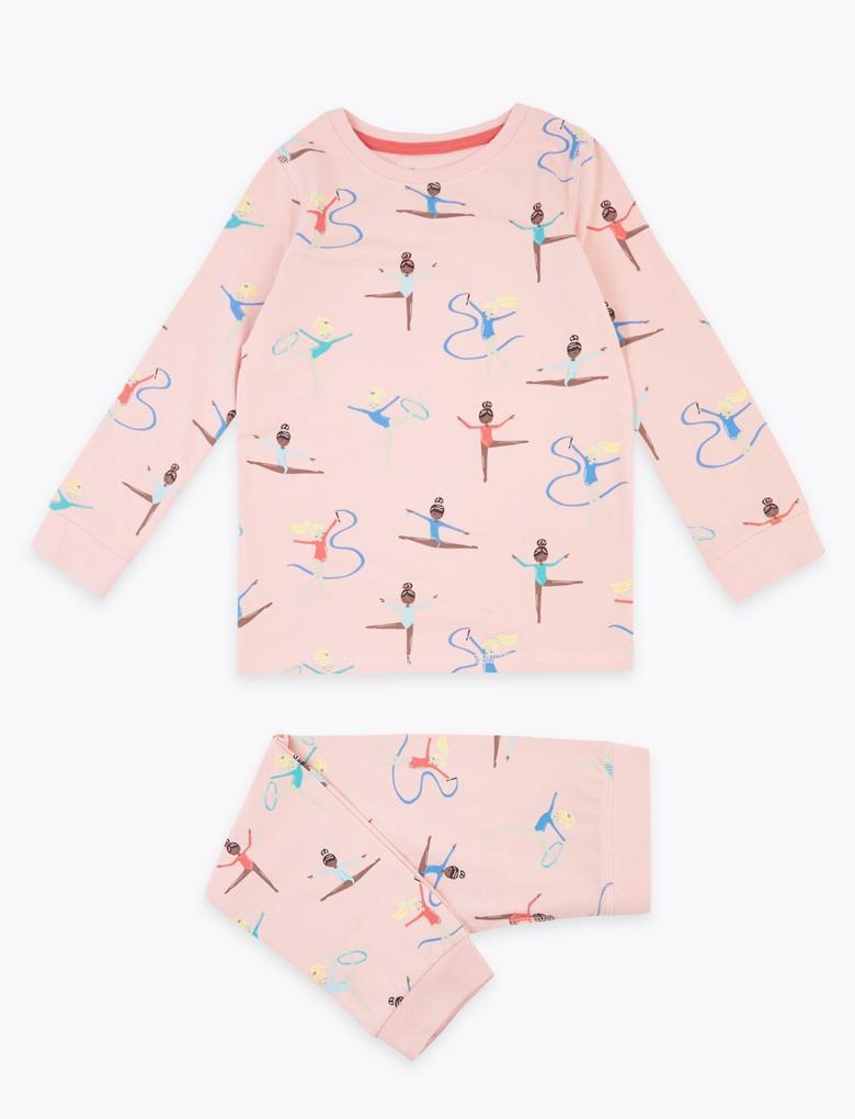 Çocuk Pembe Balerin Desenli Pijama Takımı