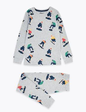 Çocuk Gri Kaykay Desenli Pijama Takımı