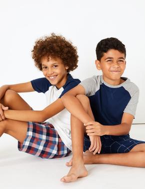 Çocuk Lacivert 2'li Ekose Pijama Seti