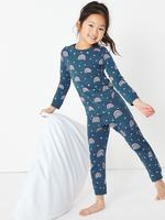Çocuk Lacivert Gökkuşağı Desenli Pijama Takımı