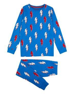 Çocuk Mavi Şimşek Desenli Pijama Takımı